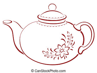 Teapot with pattern, pictogram - China teapot with a pattern...
