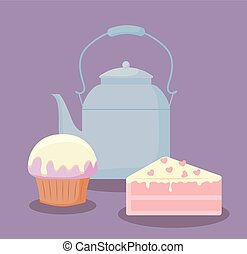 teapot with sweet cake portion
