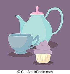 teapot with sweet cupcake
