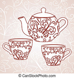 Teapot with tea cups