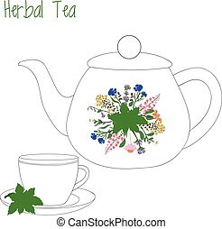 teapot with tea cups, herbal, green, vector illustration