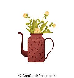 Teapot with wildflowers on white background. Vector illustration.