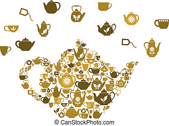 Teapots and cups of tea