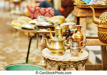 Teapots on Moroccan market in Fes, Morocco