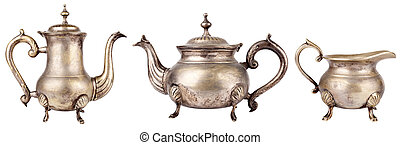 Teapots - Set of antique teapots on white background