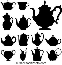 Teapots vector silhouette - Teapots and cups - vector ...