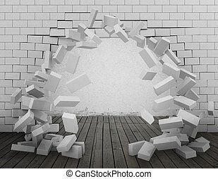 Tear down a wall 3d rendering - Background of a brick wall...