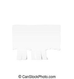 tear-off, annonce, isolé, illustration, papier, arrière-plan., vecteur, fond, blanc, template.