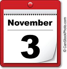 tear-off, calendario, vector, día