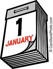 tear-off, dolgozat, tervezés, év, új, naptár