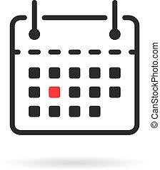 tear-off, isolé, icône, blanc, calendrier