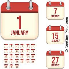 tear-off, set, iconen, januari, vrijstaand, vector, kalender