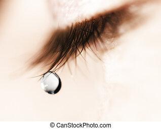 Tear - tear drop in macro mode on an eye lash