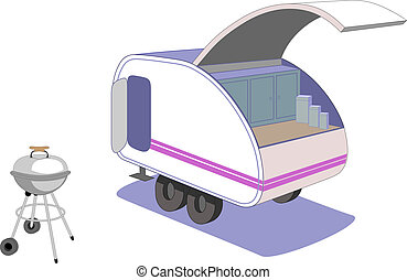 Teardrop trailer and retro grill - Parked and ready to cook...
