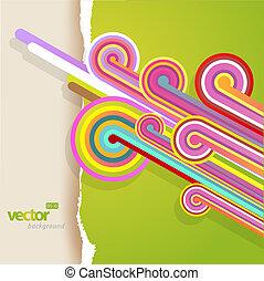 teared, abstract, lijnen, achtergrond., papier, groene