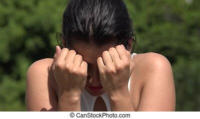 Tearful Hispanic Pretty Teen Girl