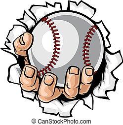 tearing, honkbal, achtergrond, bal, hand