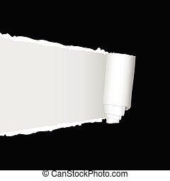 tearing paper vector illustration on a black background
