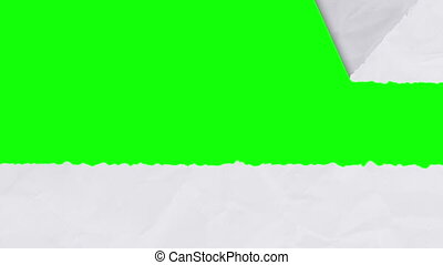 Tearing white paper revealing a green screen - horizontal...