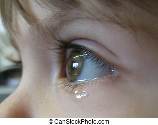 tears 2 - child\'s eye filled with tears