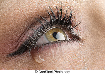 close up on the eyes of a young woman crying