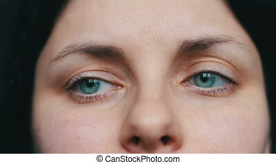 Tears in a female girl sad eye. Crying woman