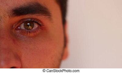 Tears in Eyes - Watery eyes close up of a Caucasian...