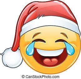 Tears of joy emoticon with Santa hat