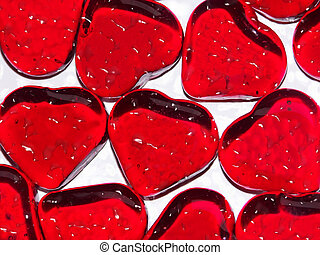 tears of love - macro of glass hearts