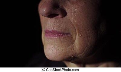 Tears on a woman's face