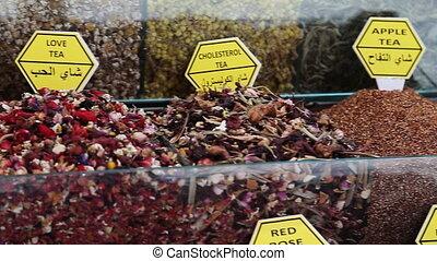 Teas and Spices in Spice Bazaar Turkey