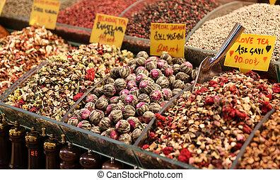 Teas in Spice Bazaar, Istanbul City, Turkey