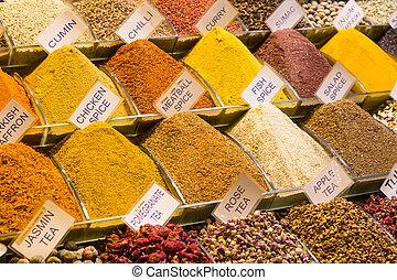 teas, kryddor, marknaden