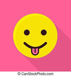 Teasing emoticon icon, flat style