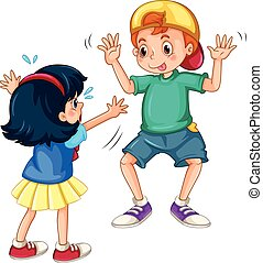 Teasing - Silly boy teasing a little girl
