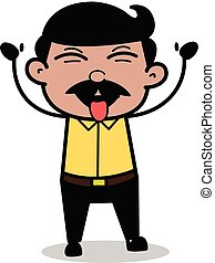 Teasing - Indian Cartoon Man Father Vector Illustration