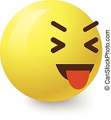 Teasing smiley icon, cartoon style