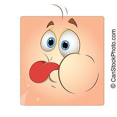 Teasing Tongue Box Smiley Face - Cartoon Funny Teasing...