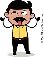 Teasing with Tongue Out - Indian Cartoon Man Father Vector Illustration