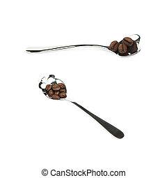 Teaspoon of coffee beans isolated