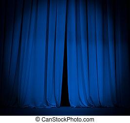 teater, arrangera, blåttgardin, med, spotlight, bakgrund