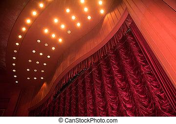 teater, arrangera, med, röd ridå