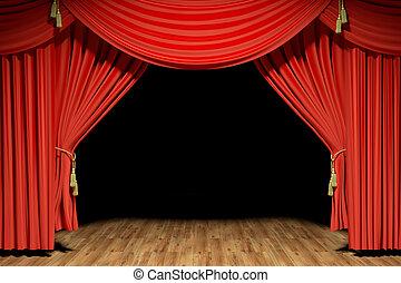 teater, arrangera, sammet, röd, kläda