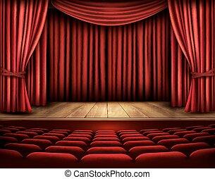 teater, biograf, scene, vector., curtain., eller