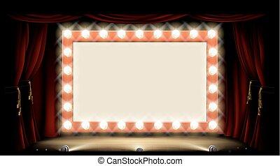 teater, eller, bio, med, stil, ljus kula, underteckna