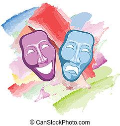 teater, komedi och tragik, masker