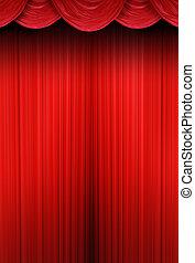teater, ridåer, av, rött tyg