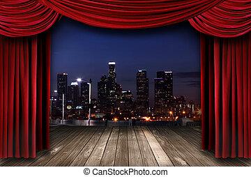 teater, scen ridå, kläda, med, a, natt, stad, som, a,...