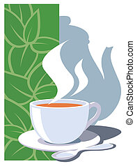 Teatime - A cup and a pot full of hot tea.