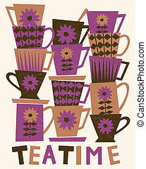Teatime Card - Illustration of cute tea cups stacked in...